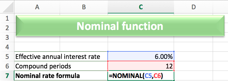 In order to calculate the nominal function, we will need to input the following formula: NOMINAL(C5,C6), where C5 is the effective interest rate and C6 is ...